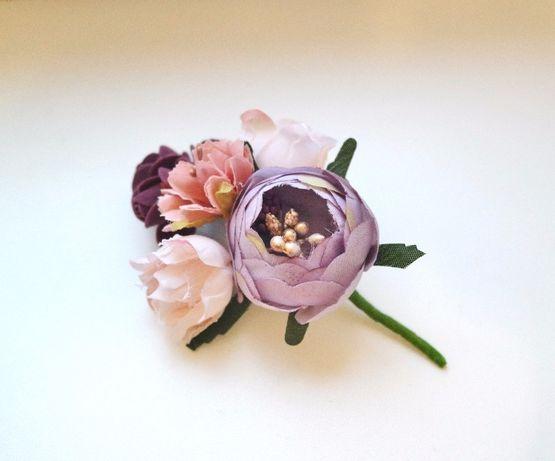 Брошь бутоньерка свадебная розы хризантемки розовые пион сиреневый