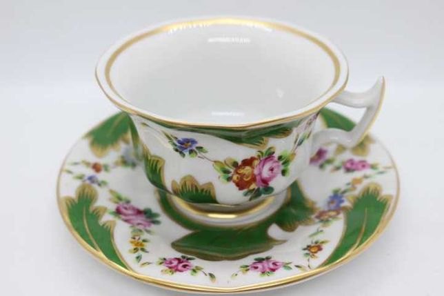 Chávena Chá Vista Alegre Facetada Verde Floral Pintada Mão 1997