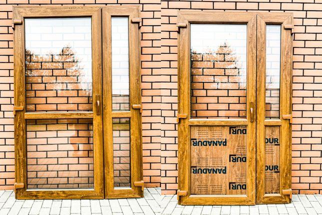 Drzwi zewnętrzne PCV 125x210 złoty dąb NOWE OD REKI sklepowe biurowe *