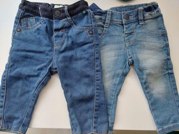 2x spodnie jeansy 74 chłopięce denim