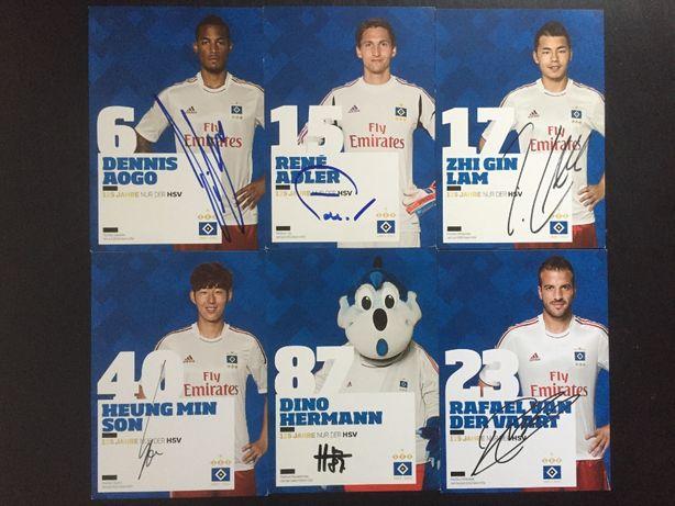 Autografy Hamburg SV – Aogo, Adler, Lam, Herman, Son, Van Der Vaart
