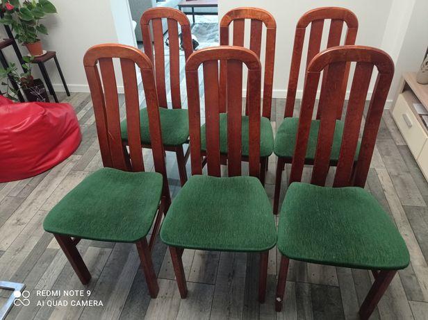 Krzesła drewniane tapicerowane 6 sztuk