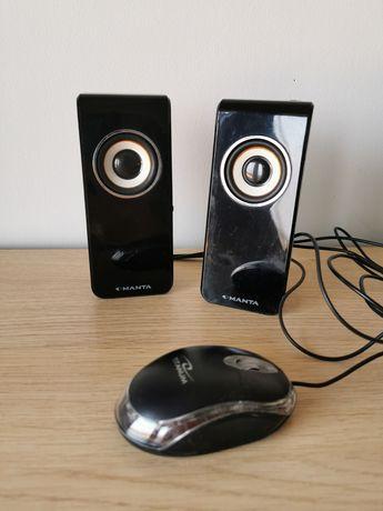 Głośniki Manta myszka Titanum do laptopa do notebooka czarne retro