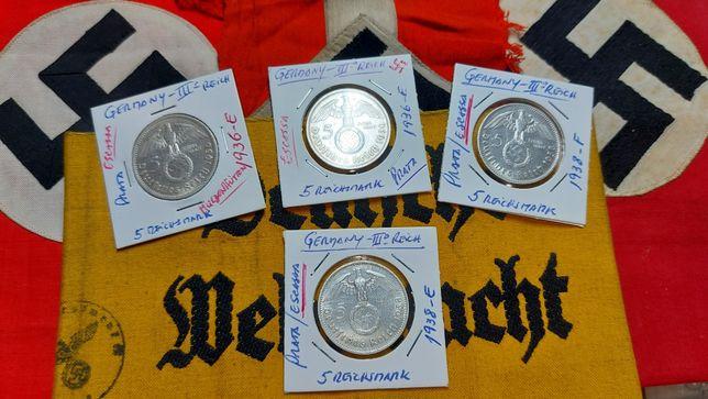 5 reichsmark ESCASSAS tiragem extrem.baixa Alemanha nazi-suástica ORIG
