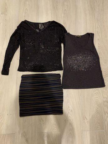 Костюм женский размер S юбка маечка кофта