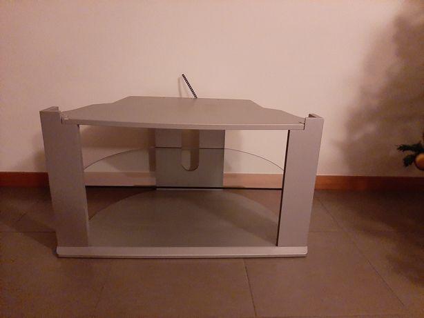 Móvel para Tv na cor cinza / metal com prateleira em vidro cinza