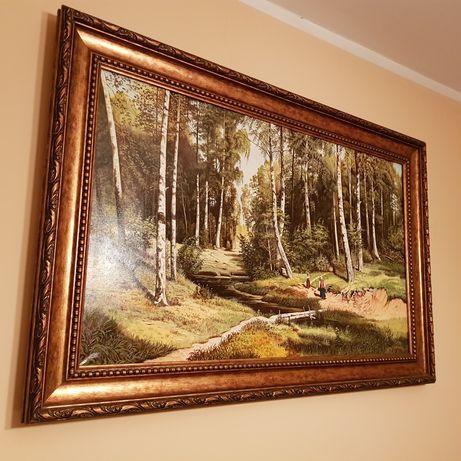 Obraz olejny współczesny 145 x 95cm Szyszkin poranek w brzozowym lesie