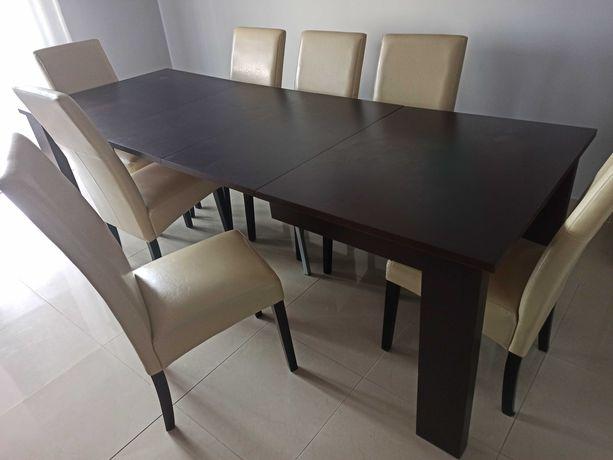 Komplet mebli do jadalni - Duży stół rozkładany i 8 krzeseł - jak nowe