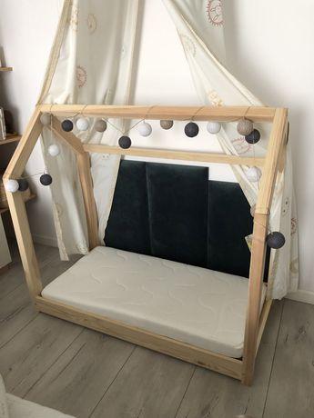 Łóżeczko domek drewniane plus materac 60x120