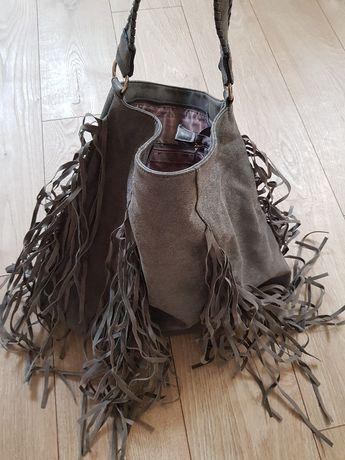 Szara torba z frędzlami