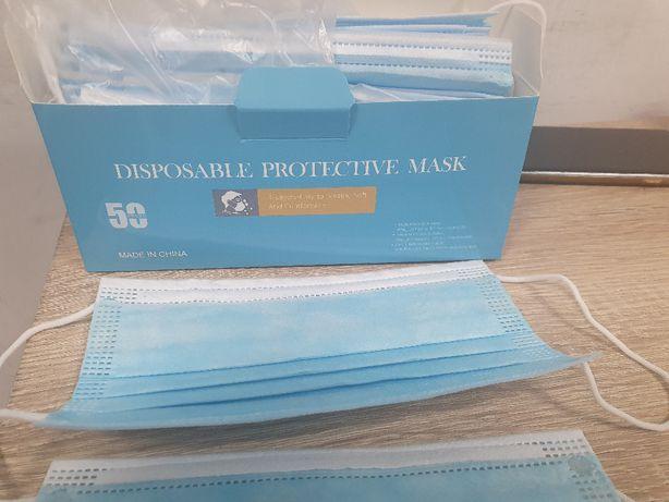 1 kartonik 50 szt Maseczki ochronne , jednorazowe, 3 warstwowe