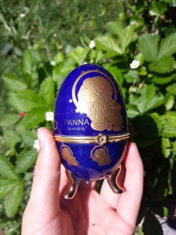 Porcelanowa szkatułka jajko Faberge Egg znak zodiaku Panna