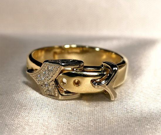 Золотое кольцо поясок с бриллиантами