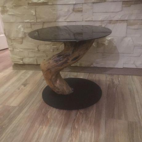 stolik kawowy okrągły drewno czarna szyba