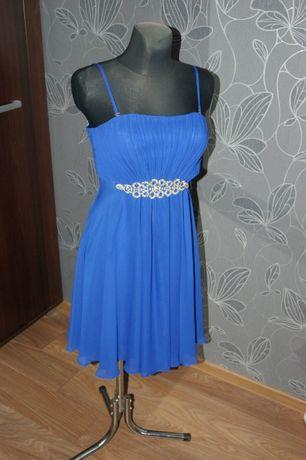 Piękna chabrowa sukienka rozm 36
