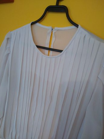 Koszula plisowana elegancka biała S