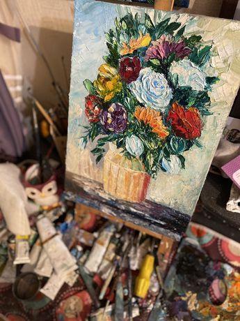 Цветы для нее натюрморт маслянная живопись