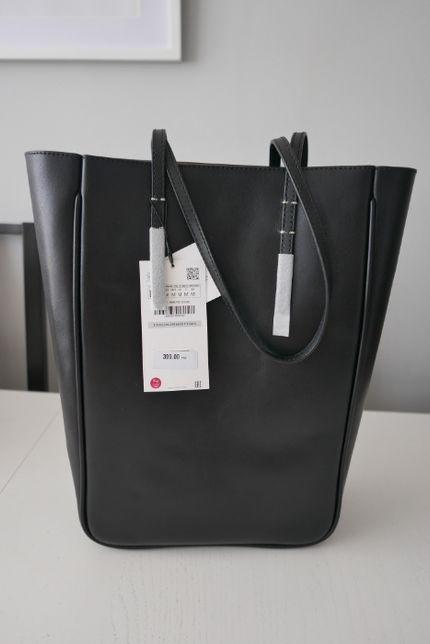Zara Skórzana Torba/ torebka usztywniana XL