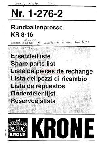 katalog części Prasa Krone 8-16, 1992r