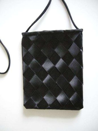 Mala bolsa pequena Tecido Fitas de Cetim Preto tipo gótico