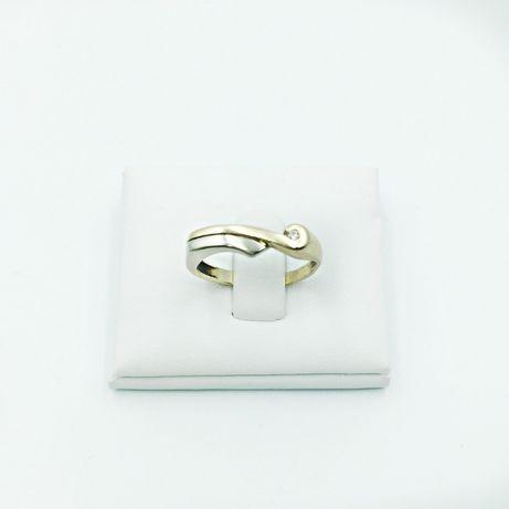 Złoty pierścionek 585 zółte białe złoto cyrkonia - używany