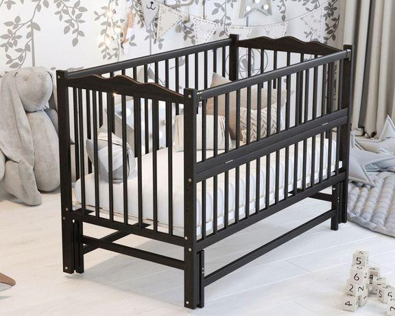 Новая кроватка на шарнирах с откидным боком - бук