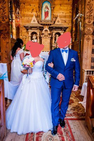 Suknia ślubna z kryształami Swarovskiego bez ramiączek