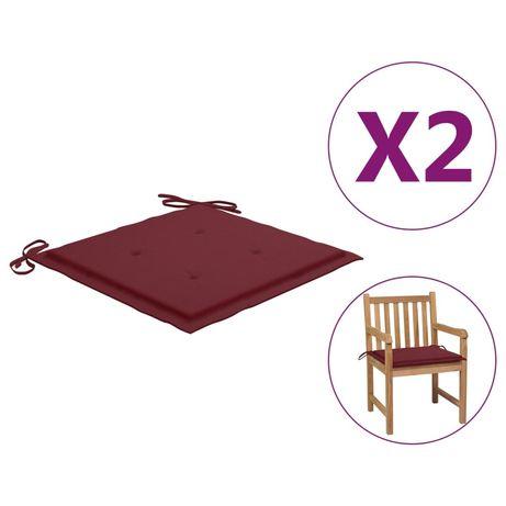 vidaXL Almofadões cadeiras jardim 2pcs 50x50x4cm tecido vermelho tinto 314056