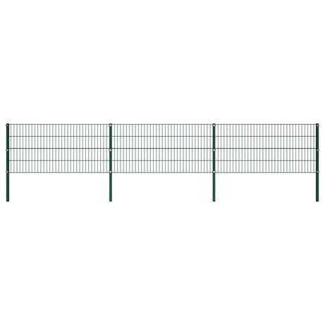 vidaXL Painel de vedação com postes ferro 5,1x0,8 m verde 278606