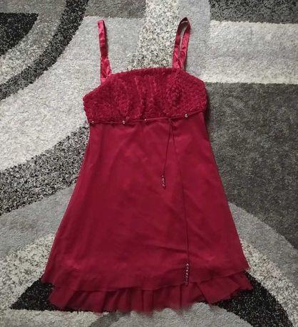 Burgundowa/Bordowa sukienka na ramiączkach   42   Staromodne/Vintage