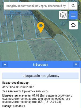 Продам земельну ділянку сільськогосподарського призначення 0,85 га