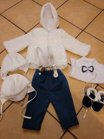Komplet zimowy na chrzest dla chłopca 68
