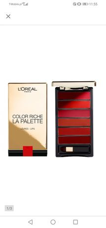 "Paleta 6 odcieni pomadek: L'oreal Color Riche La Palette ""RED""  NOWA!"