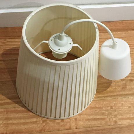 Abajur suspenso ou para candeeiro de mesa + casquilho e cabo