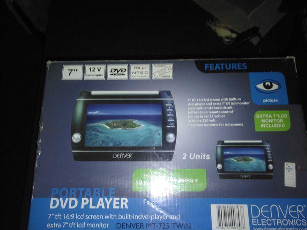 Leitor dvd portatil com ligação ao isqueiro do carro