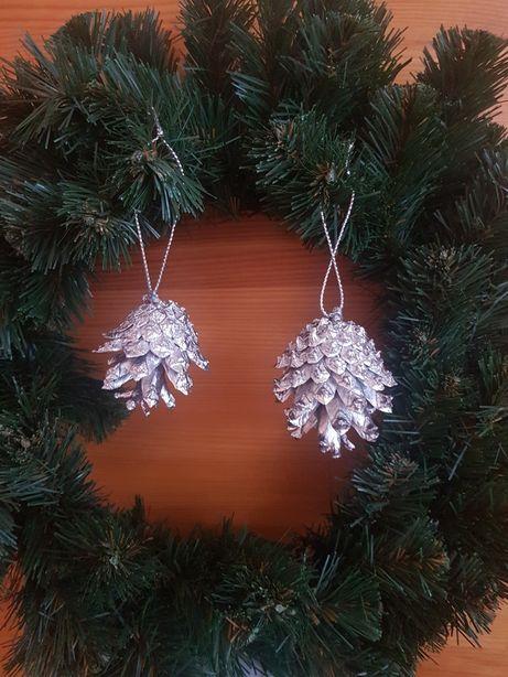 Szyszki srebrne ozdoby swiateczne na choinke
