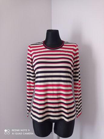 Bluzka damska na długi rękaw w paski czerwone czarne beżowe rozmiar M