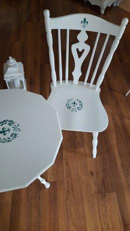 Stolik krzesło patyczak białe vintage