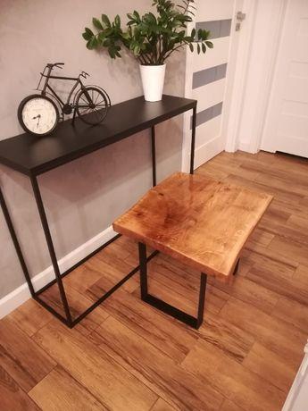 Stolik (stół) drewniany dębowy, zalany żywicą, czarne nogi