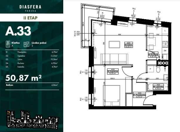Atrakcyjne mieszkanie 50.87 m2 w inwestycji Diasfera II