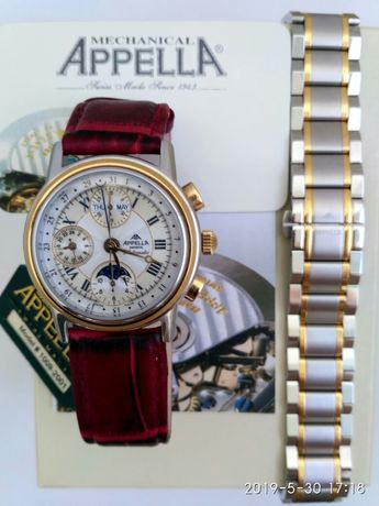 Продам новые швейцарские часы Appella 1009-2001хронограф линия Gold