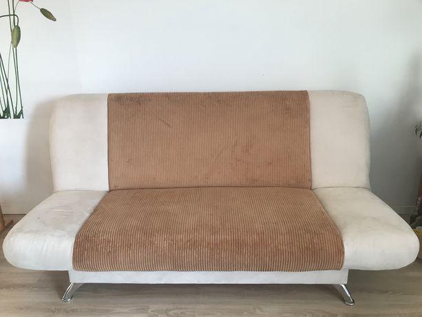 Kanapa sofa wersalka rozkladana beżowo-brązowa