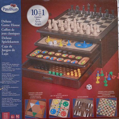 Caixa de jogos Madeira. 10 Jogos - Nova na Embalagem