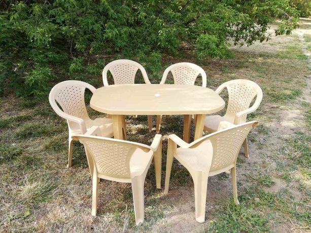 АКЦИЯ стол БОЛЬШОЙ бежевый + 6 кресел, пластиковая мебель для сада