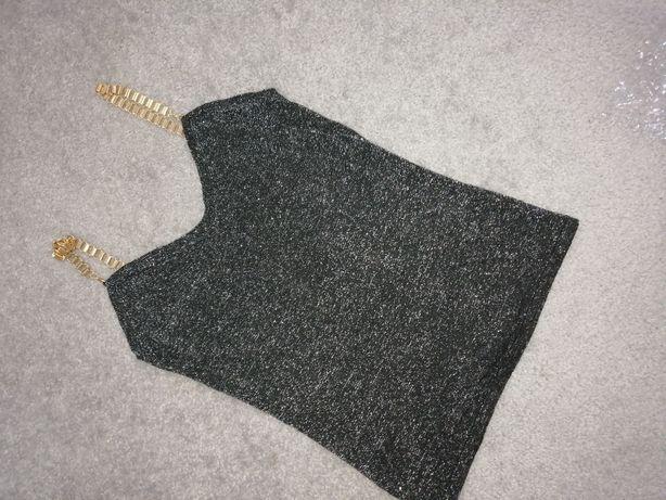 Brokatowa koszulka na ramiączkach XS s m