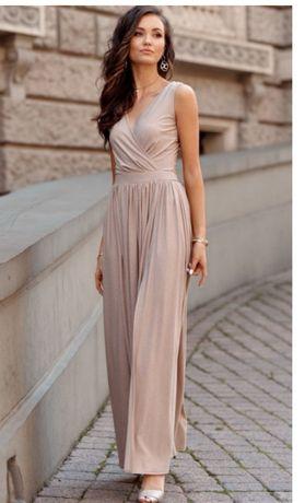Piękna długa beżowa  sukienka mieniącą się brokatem 42-44