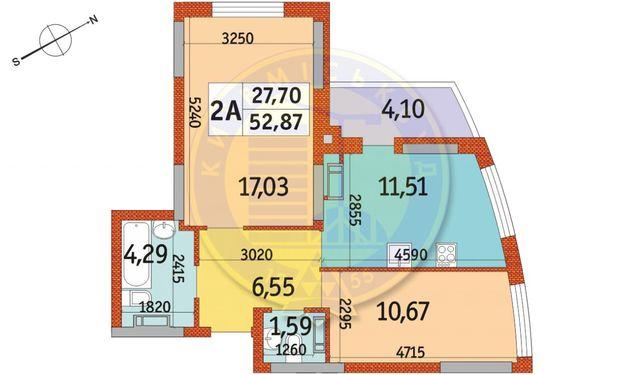 Квартира в ЖК Радужный, 2к - 52.87м2 м.Почайна!