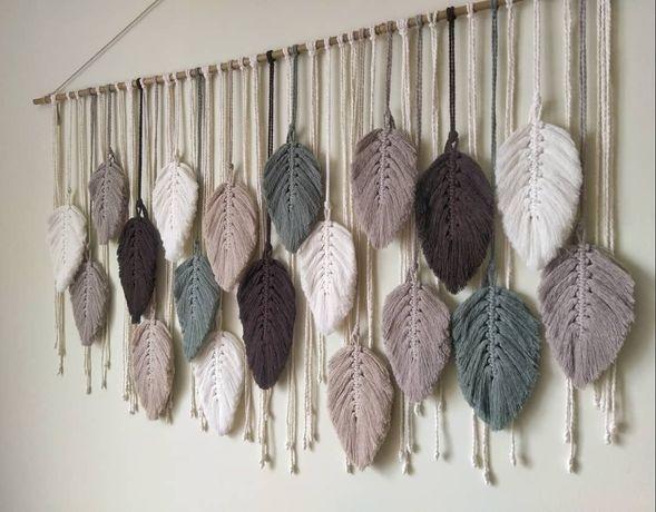 Листья макраме, перья декор для дома, студии