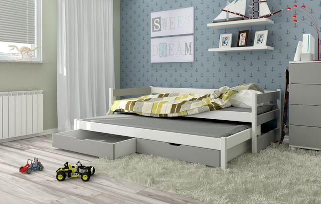 Podwójne łóżko dziecięce TONI z dolnym spaniem + materace