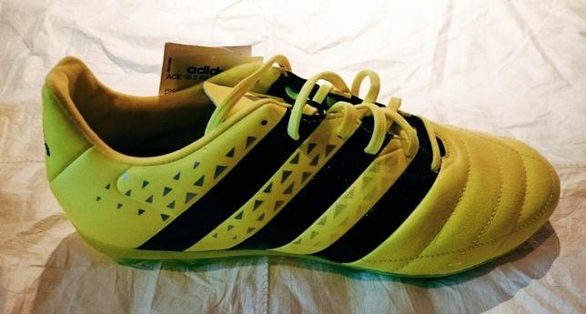 Buty korki lanki adidas model ACE 16.2 FG Leather kolor żółty jaskrawy
